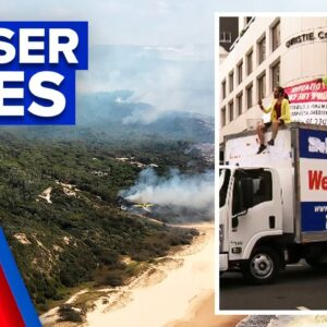 Fraser Island bushfire intensifies amid climate change protests | 9 News Australia