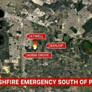 Emergency bushfire warning issued for blaze burning south of Perth