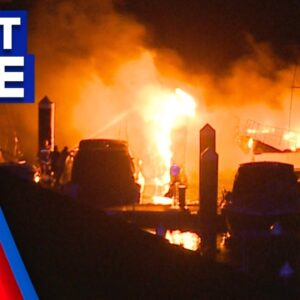 Father and son escape marina fire in Sydney's south   9 News Australia