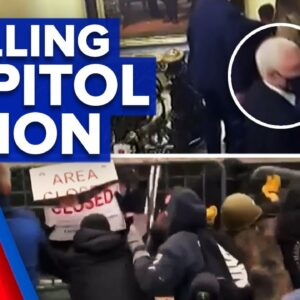 Chilling vision of Capitol riots shown in Trump's trial | 9 News Australia